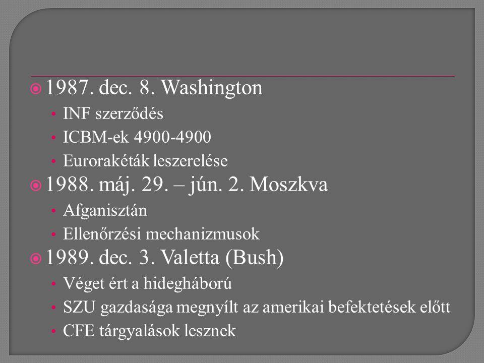  1987. dec. 8. Washington INF szerződés ICBM-ek 4900-4900 Eurorakéták leszerelése  1988.