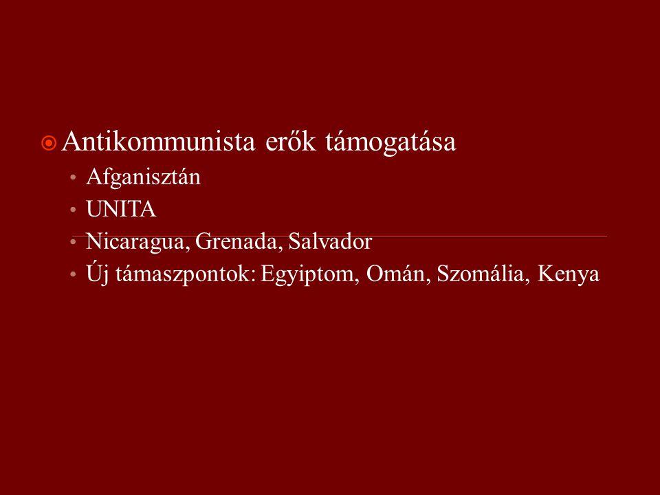  Antikommunista erők támogatása Afganisztán UNITA Nicaragua, Grenada, Salvador Új támaszpontok: Egyiptom, Omán, Szomália, Kenya