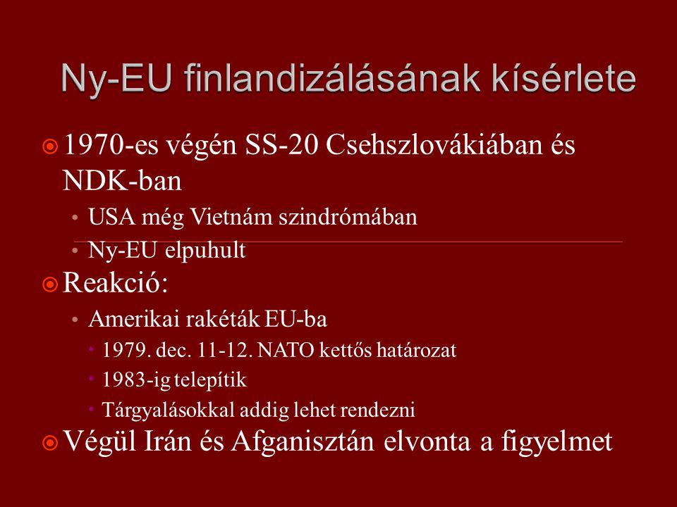  1970-es végén SS-20 Csehszlovákiában és NDK-ban USA még Vietnám szindrómában Ny-EU elpuhult  Reakció: Amerikai rakéták EU-ba  1979.