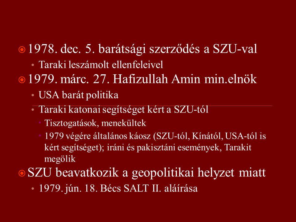  1978. dec. 5. barátsági szerződés a SZU-val Taraki leszámolt ellenfeleivel  1979.