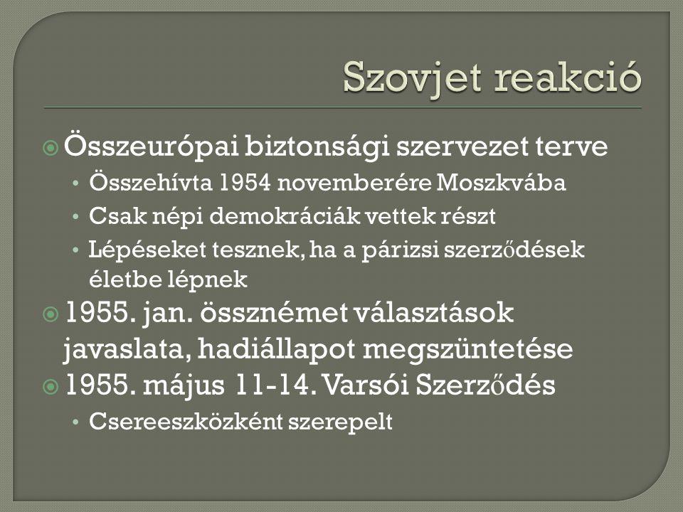  Összeurópai biztonsági szervezet terve Összehívta 1954 novemberére Moszkvába Csak népi demokráciák vettek részt Lépéseket tesznek, ha a párizsi szerz ő dések életbe lépnek  1955.