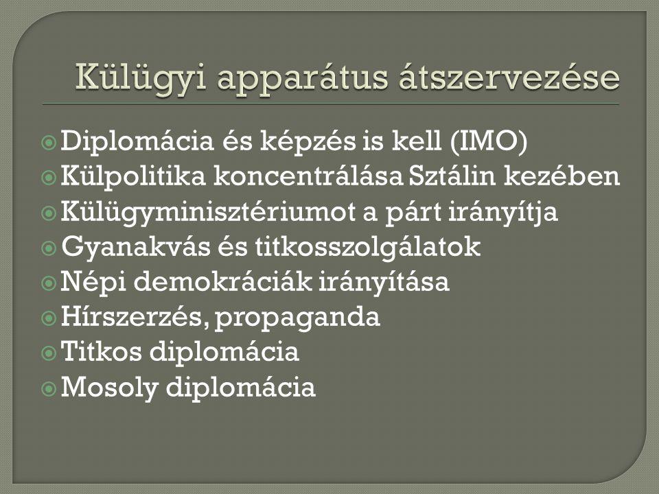  Diplomácia és képzés is kell (IMO)  Külpolitika koncentrálása Sztálin kezében  Külügyminisztériumot a párt irányítja  Gyanakvás és titkosszolgálatok  Népi demokráciák irányítása  Hírszerzés, propaganda  Titkos diplomácia  Mosoly diplomácia