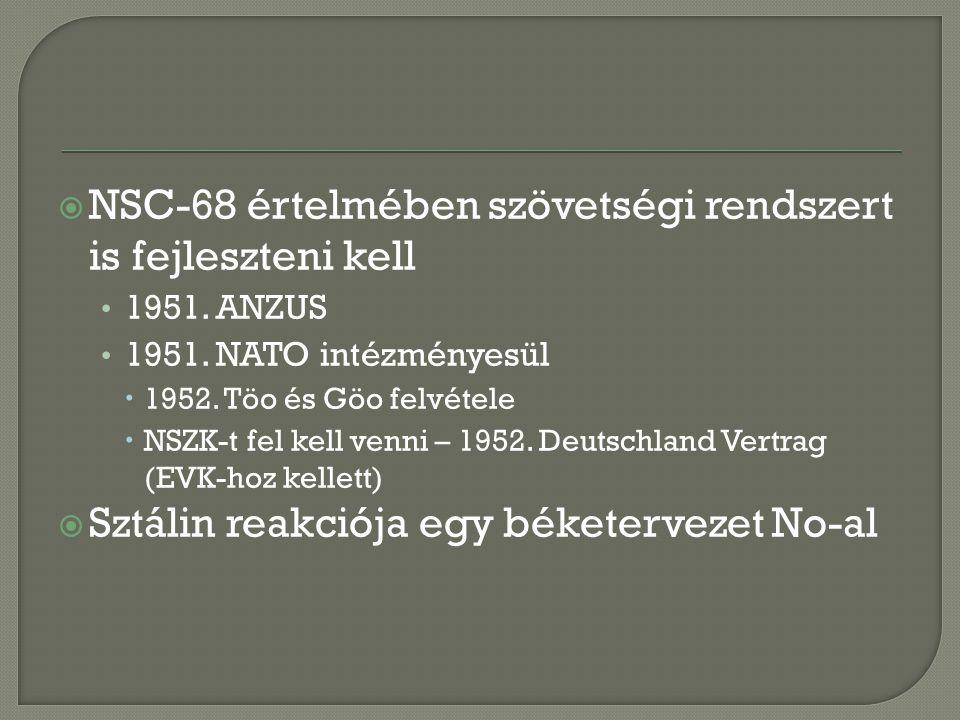  NSC-68 értelmében szövetségi rendszert is fejleszteni kell 1951.