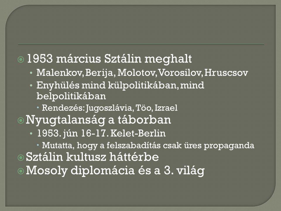  1953 március Sztálin meghalt Malenkov, Berija, Molotov, Vorosilov, Hruscsov Enyhülés mind külpolitikában, mind belpolitikában  Rendezés: Jugoszlávia, Töo, Izrael  Nyugtalanság a táborban 1953.