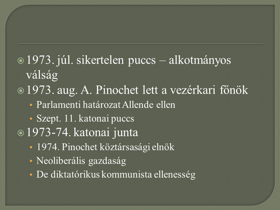  1973. júl. sikertelen puccs – alkotmányos válság  1973. aug. A. Pinochet lett a vezérkari főnök Parlamenti határozat Allende ellen Szept. 11. katon