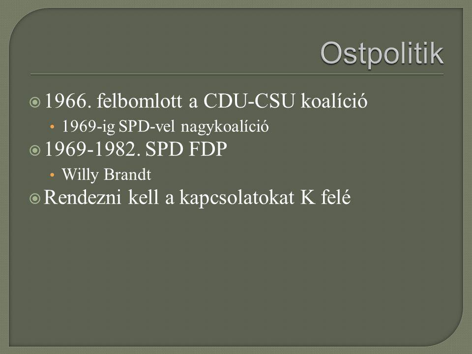  1966. felbomlott a CDU-CSU koalíció 1969-ig SPD-vel nagykoalíció  1969-1982. SPD FDP Willy Brandt  Rendezni kell a kapcsolatokat K felé