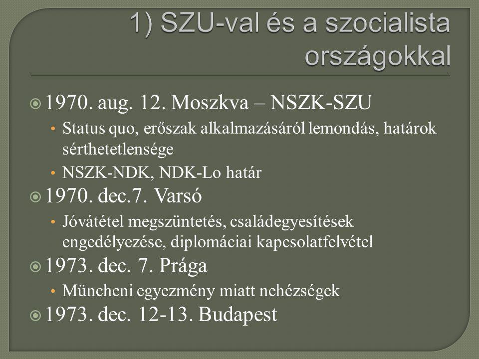  1970. aug. 12. Moszkva – NSZK-SZU Status quo, erőszak alkalmazásáról lemondás, határok sérthetetlensége NSZK-NDK, NDK-Lo határ  1970. dec.7. Varsó