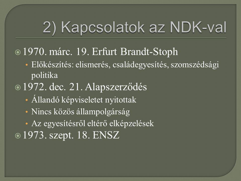  1970. márc. 19. Erfurt Brandt-Stoph Előkészítés: elismerés, családegyesítés, szomszédsági politika  1972. dec. 21. Alapszerződés Állandó képviselet