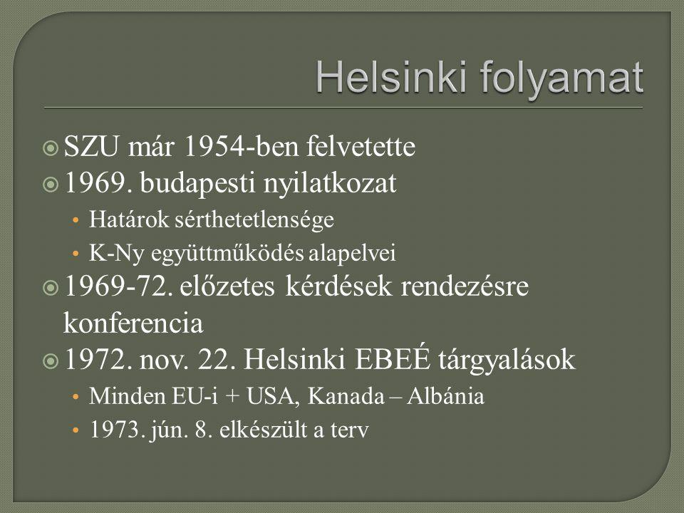  SZU már 1954-ben felvetette  1969. budapesti nyilatkozat Határok sérthetetlensége K-Ny együttműködés alapelvei  1969-72. előzetes kérdések rendezé