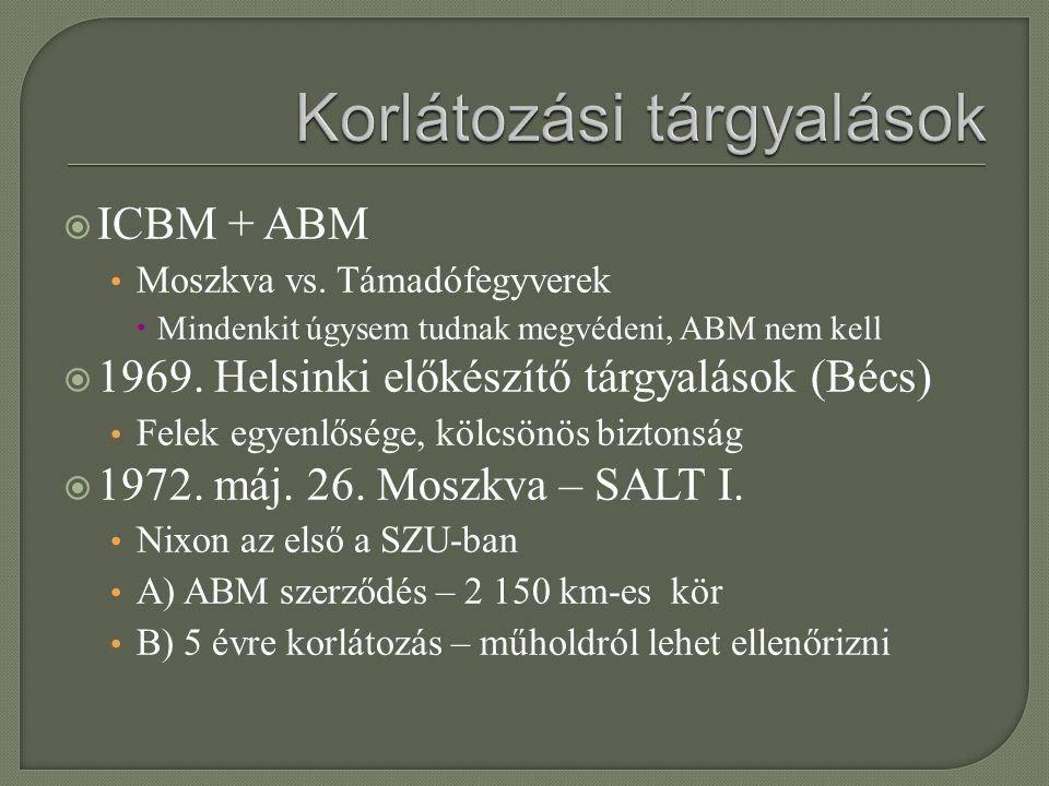  ICBM + ABM Moszkva vs. Támadófegyverek  Mindenkit úgysem tudnak megvédeni, ABM nem kell  1969. Helsinki előkészítő tárgyalások (Bécs) Felek egyenl