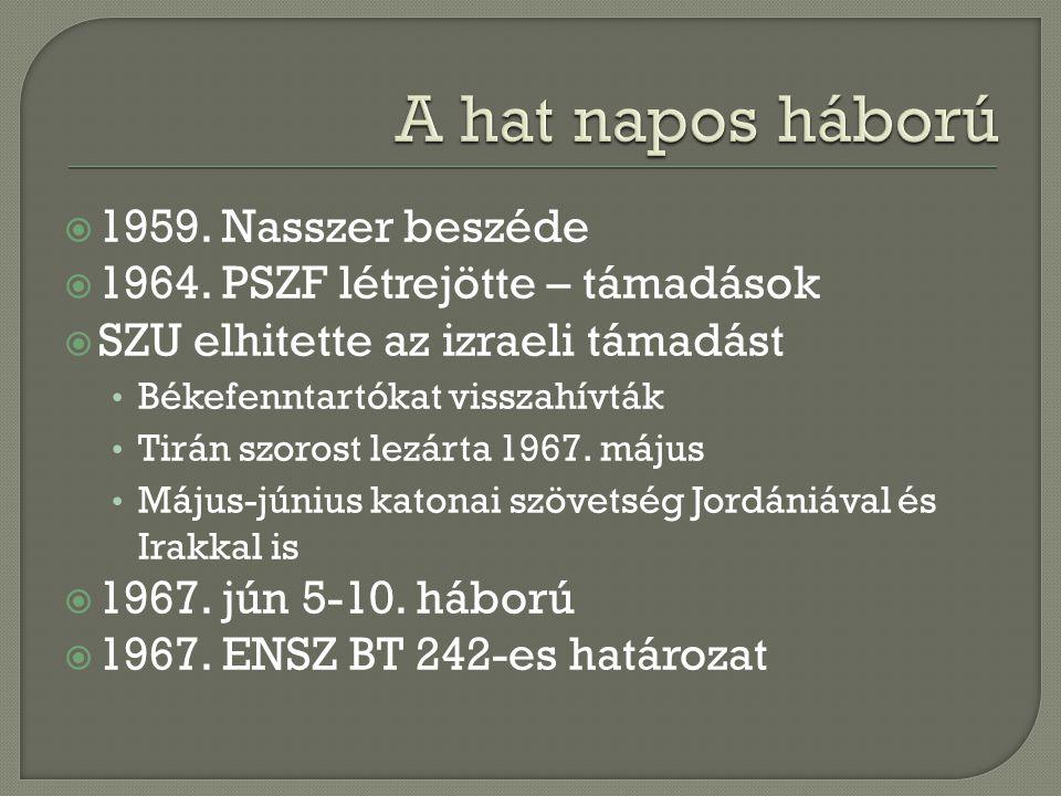  1959. Nasszer beszéde  1964. PSZF létrejötte – támadások  SZU elhitette az izraeli támadást Békefenntartókat visszahívták Tirán szorost lezárta 19