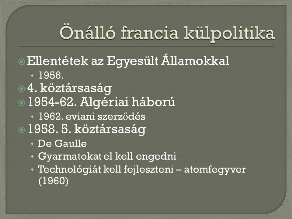  Ellentétek az Egyesült Államokkal 1956.  4. köztársaság  1954-62. Algériai háború 1962. eviani szerz ő dés  1958. 5. köztársaság De Gaulle Gyarma