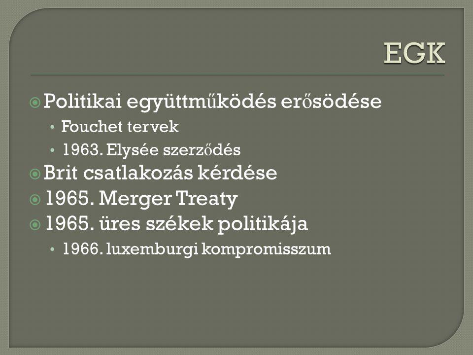  Politikai együttm ű ködés er ő södése Fouchet tervek 1963. Elysée szerz ő dés  Brit csatlakozás kérdése  1965. Merger Treaty  1965. üres székek p