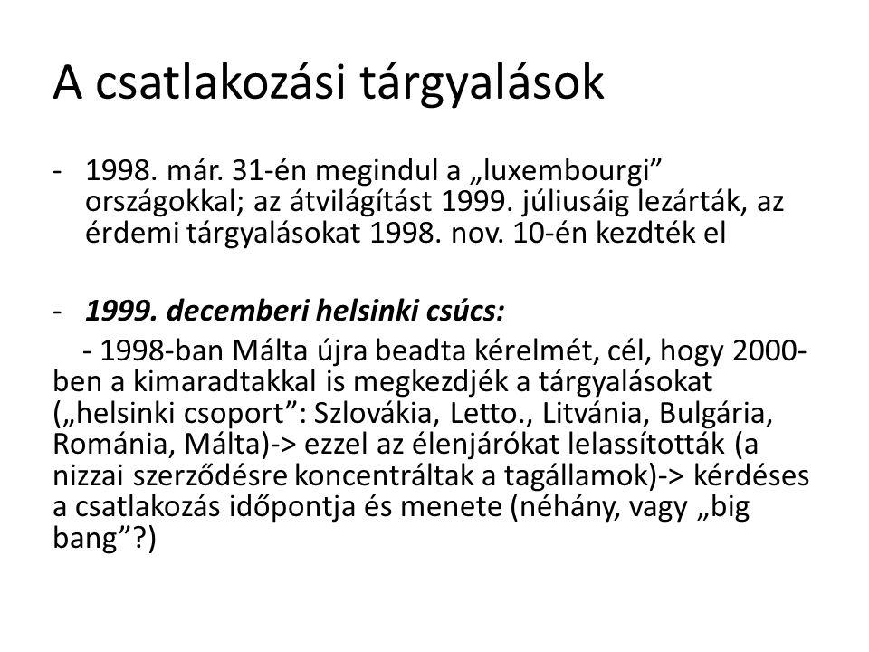 """A csatlakozási tárgyalások -1998. már. 31-én megindul a """"luxembourgi"""" országokkal; az átvilágítást 1999. júliusáig lezárták, az érdemi tárgyalásokat 1"""