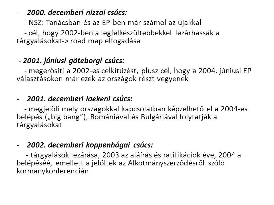 -2000. decemberi nizzai csúcs: - NSZ: Tanácsban és az EP-ben már számol az újakkal - cél, hogy 2002-ben a legfelkészültebbekkel lezárhassák a tárgyalá