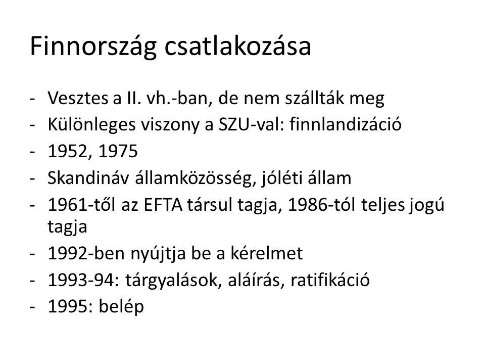 Finnország csatlakozása -Vesztes a II. vh.-ban, de nem szállták meg -Különleges viszony a SZU-val: finnlandizáció -1952, 1975 -Skandináv államközösség