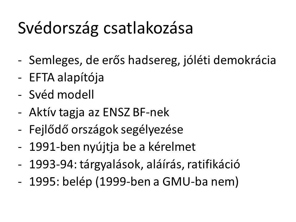 Svédország csatlakozása -Semleges, de erős hadsereg, jóléti demokrácia -EFTA alapítója -Svéd modell -Aktív tagja az ENSZ BF-nek -Fejlődő országok segélyezése -1991-ben nyújtja be a kérelmet -1993-94: tárgyalások, aláírás, ratifikáció -1995: belép (1999-ben a GMU-ba nem)