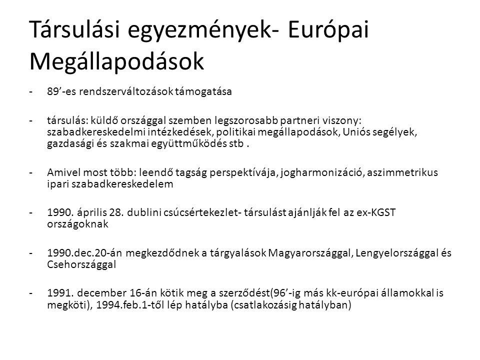 Társulási egyezmények- Európai Megállapodások -89'-es rendszerváltozások támogatása -társulás: küldő országgal szemben legszorosabb partneri viszony: szabadkereskedelmi intézkedések, politikai megállapodások, Uniós segélyek, gazdasági és szakmai együttműködés stb.