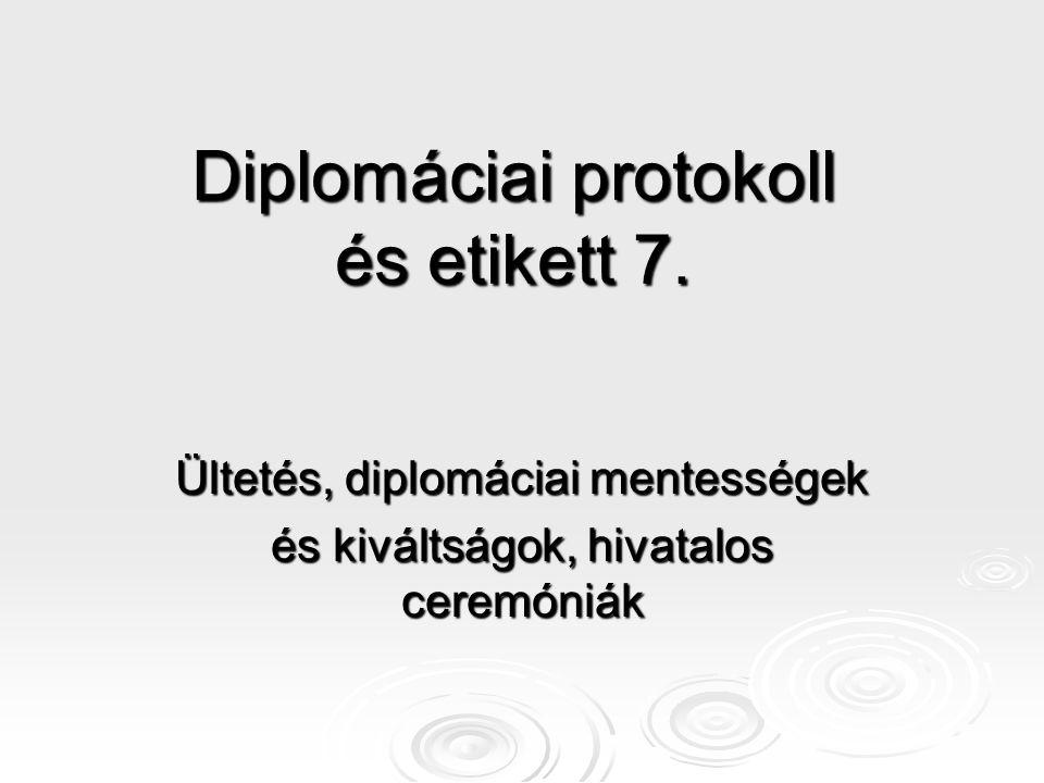 Diplomáciai protokoll és etikett 7. Ültetés, diplomáciai mentességek és kiváltságok, hivatalos ceremóniák