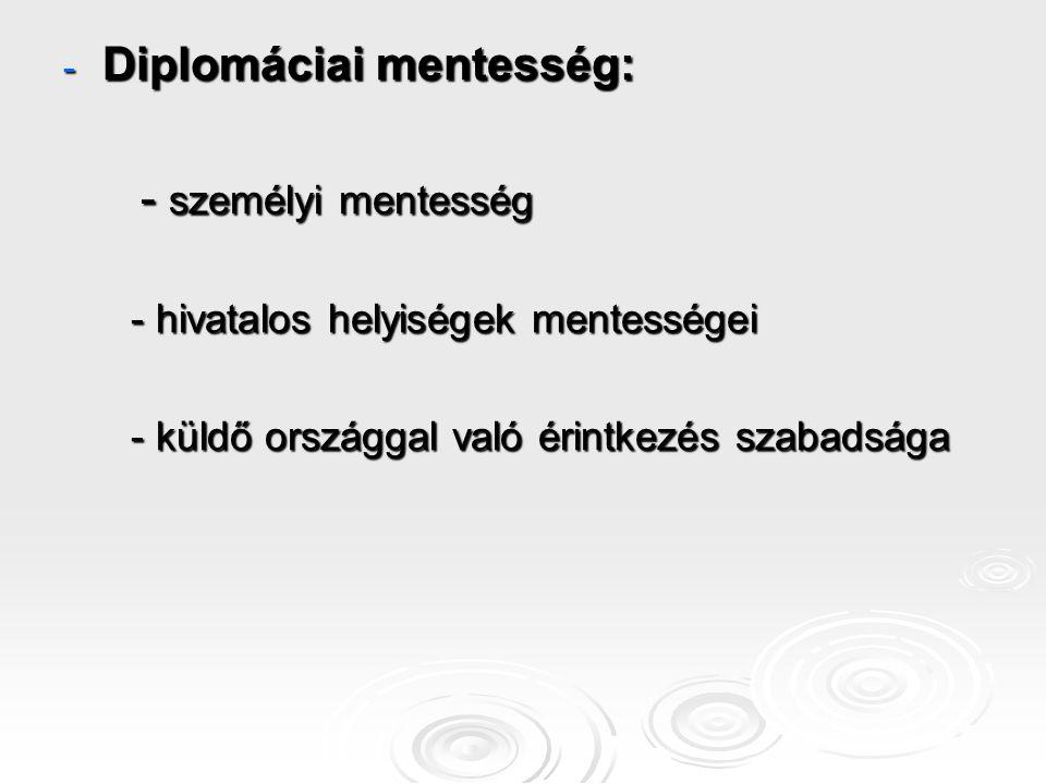 - Diplomáciai mentesség: - személyi mentesség - személyi mentesség - hivatalos helyiségek mentességei - hivatalos helyiségek mentességei - küldő orszá