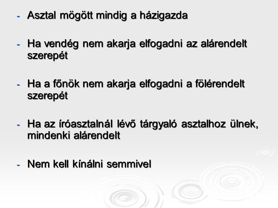 Elnökségi ültetési rend (sajtótájékoztató, fórum)  Ha csak saját elnökség: 4 2 1 3 5 4 2 1 3 5  Ha vendég és házigazda is van H2 V1 H1 V2 H3 H2 V1 H1 V2 H3