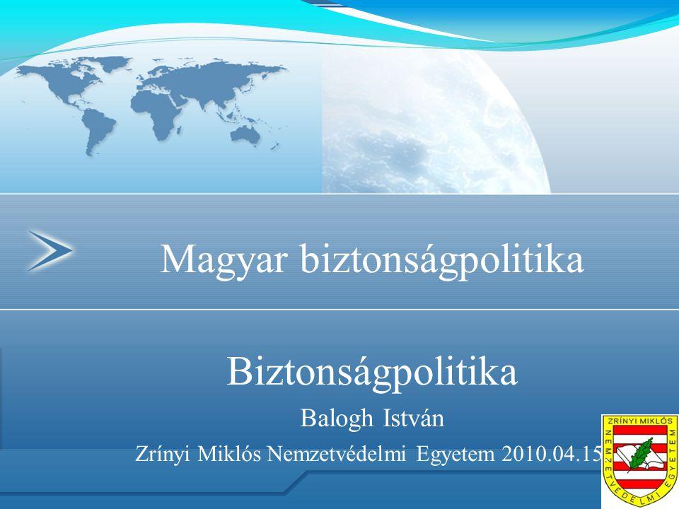 Magyar biztonságpolitika Biztonságpolitika Balogh István Zrínyi Miklós Nemzetvédelmi Egyetem 2010.04.15.