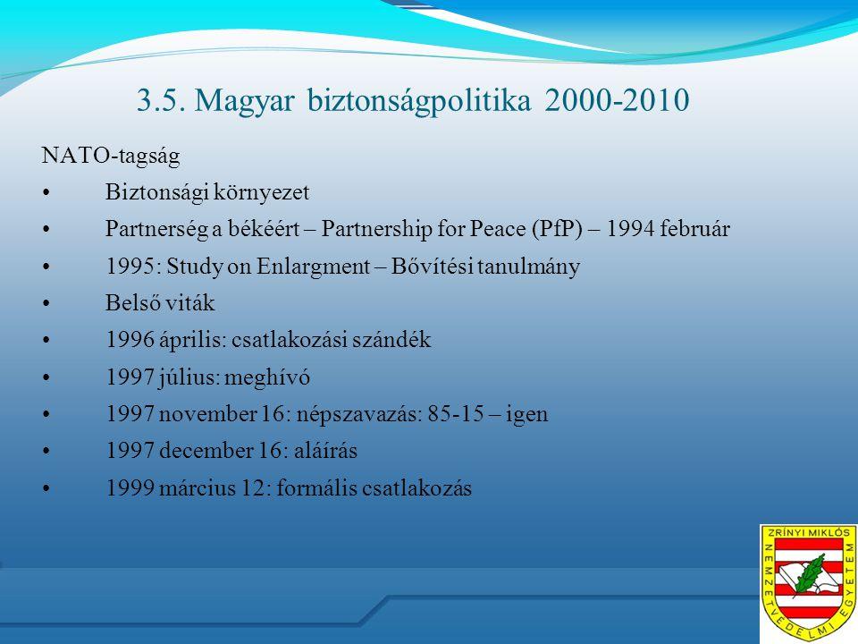 3.5. Magyar biztonságpolitika 2000-2010 NATO-tagság Biztonsági környezet Partnerség a békéért – Partnership for Peace (PfP) – 1994 február 1995: Study