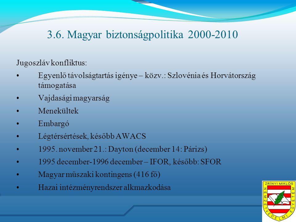 3.6. Magyar biztonságpolitika 2000-2010 Jugoszláv konfliktus: Egyenlő távolságtartás igénye – közv.: Szlovénia és Horvátország támogatása Vajdasági ma