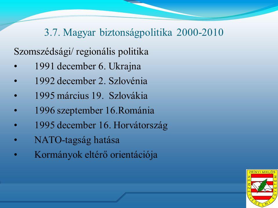 3.7. Magyar biztonságpolitika 2000-2010 Szomszédsági/ regionális politika 1991 december 6. Ukrajna 1992 december 2. Szlovénia 1995 március 19. Szlovák