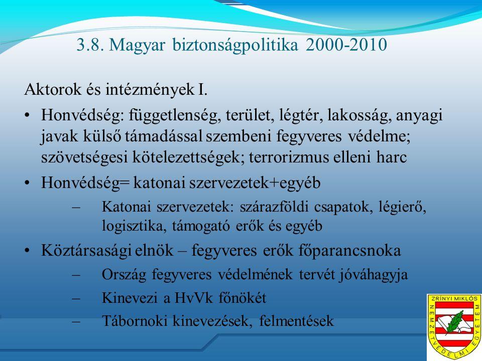 3.8. Magyar biztonságpolitika 2000-2010 Aktorok és intézmények I. Honvédség: függetlenség, terület, légtér, lakosság, anyagi javak külső támadással sz