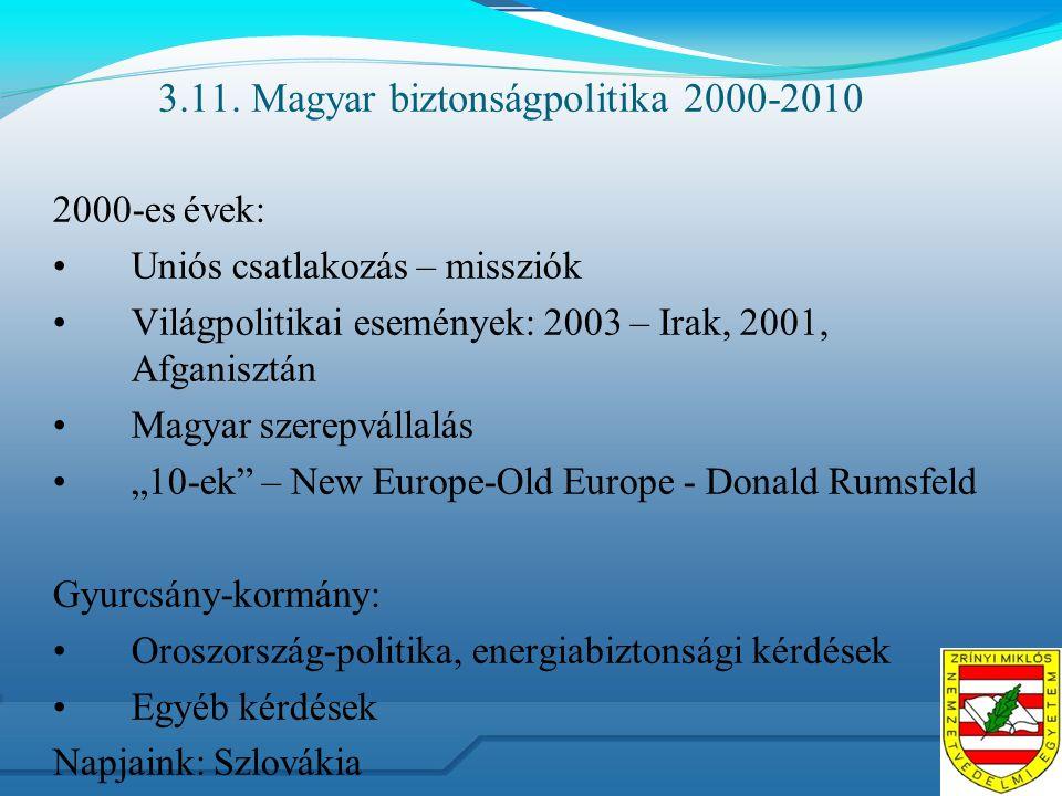 3.11. Magyar biztonságpolitika 2000-2010 2000-es évek: Uniós csatlakozás – missziók Világpolitikai események: 2003 – Irak, 2001, Afganisztán Magyar sz