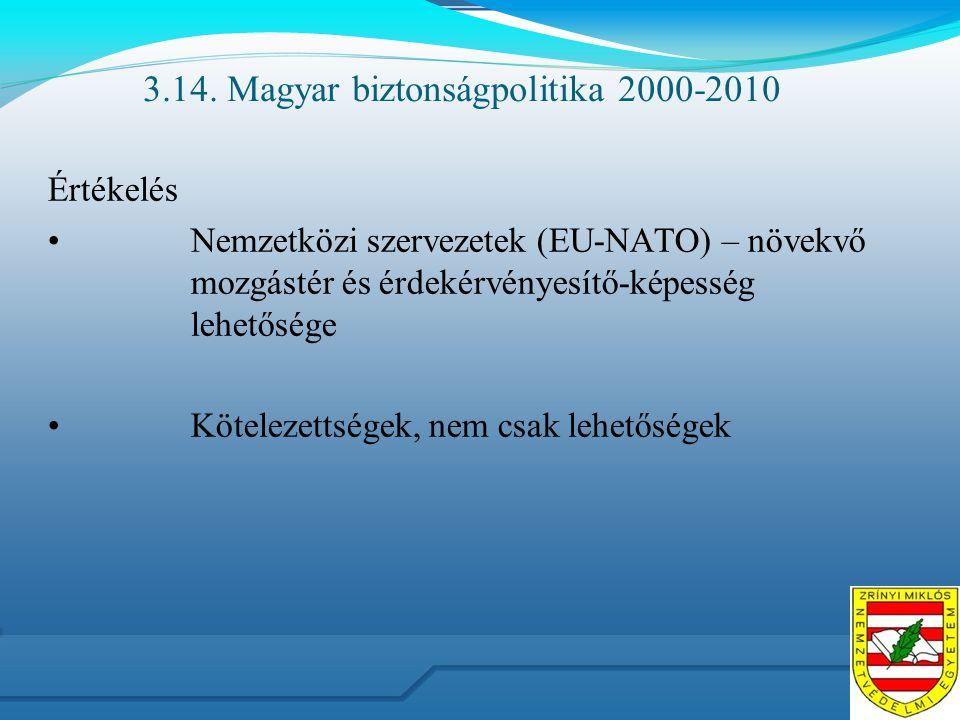 3.14. Magyar biztonságpolitika 2000-2010 Értékelés Nemzetközi szervezetek (EU-NATO) – növekvő mozgástér és érdekérvényesítő-képesség lehetősége Kötele
