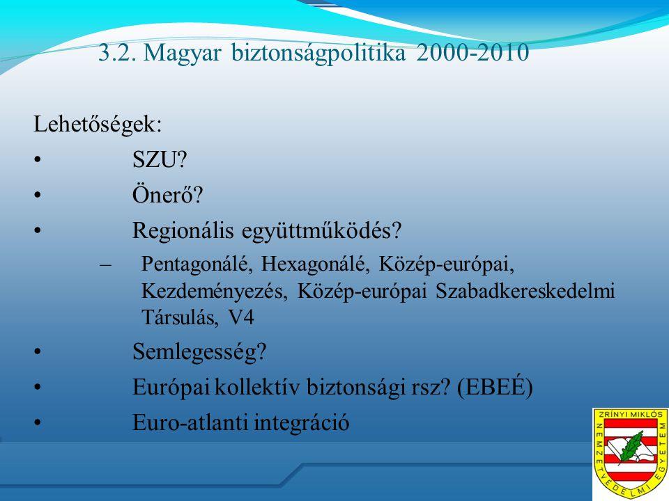 3.2. Magyar biztonságpolitika 2000-2010 Lehetőségek: SZU? Önerő? Regionális együttműködés? –Pentagonálé, Hexagonálé, Közép-európai, Kezdeményezés, Köz