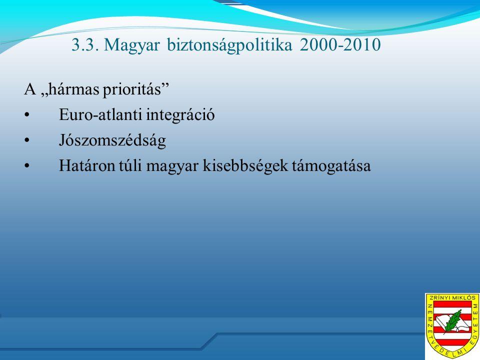 """3.3. Magyar biztonságpolitika 2000-2010 A """"hármas prioritás"""" Euro-atlanti integráció Jószomszédság Határon túli magyar kisebbségek támogatása"""