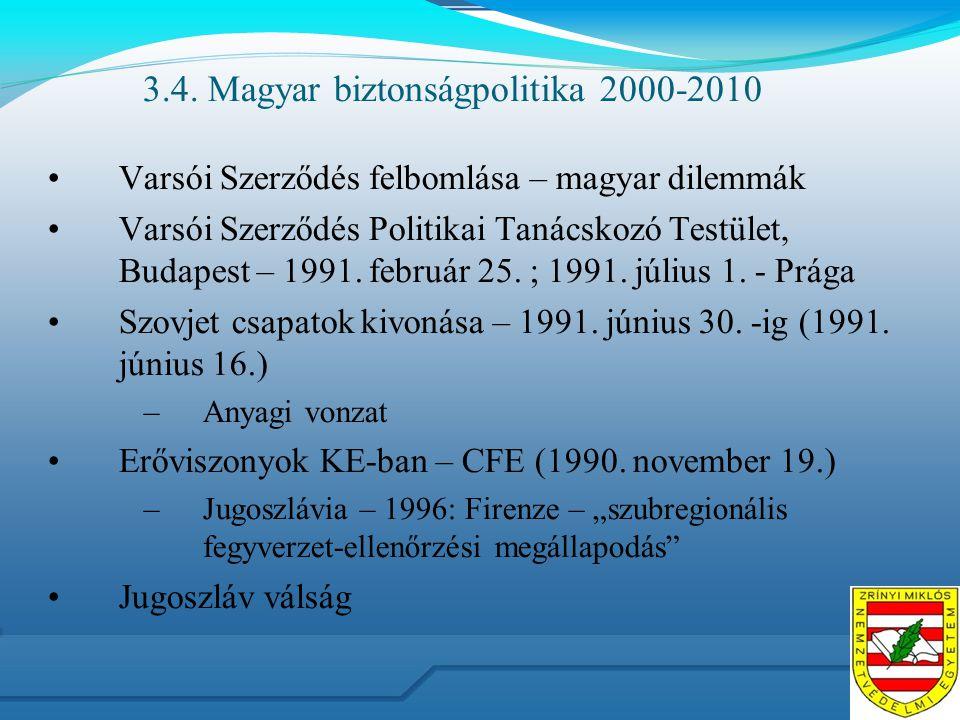 3.4. Magyar biztonságpolitika 2000-2010 Varsói Szerződés felbomlása – magyar dilemmák Varsói Szerződés Politikai Tanácskozó Testület, Budapest – 1991.