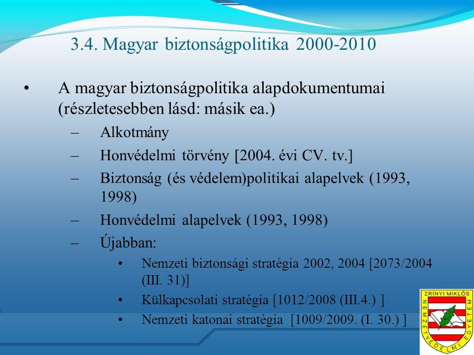 3.4. Magyar biztonságpolitika 2000-2010 A magyar biztonságpolitika alapdokumentumai (részletesebben lásd: másik ea.) –Alkotmány –Honvédelmi törvény [2