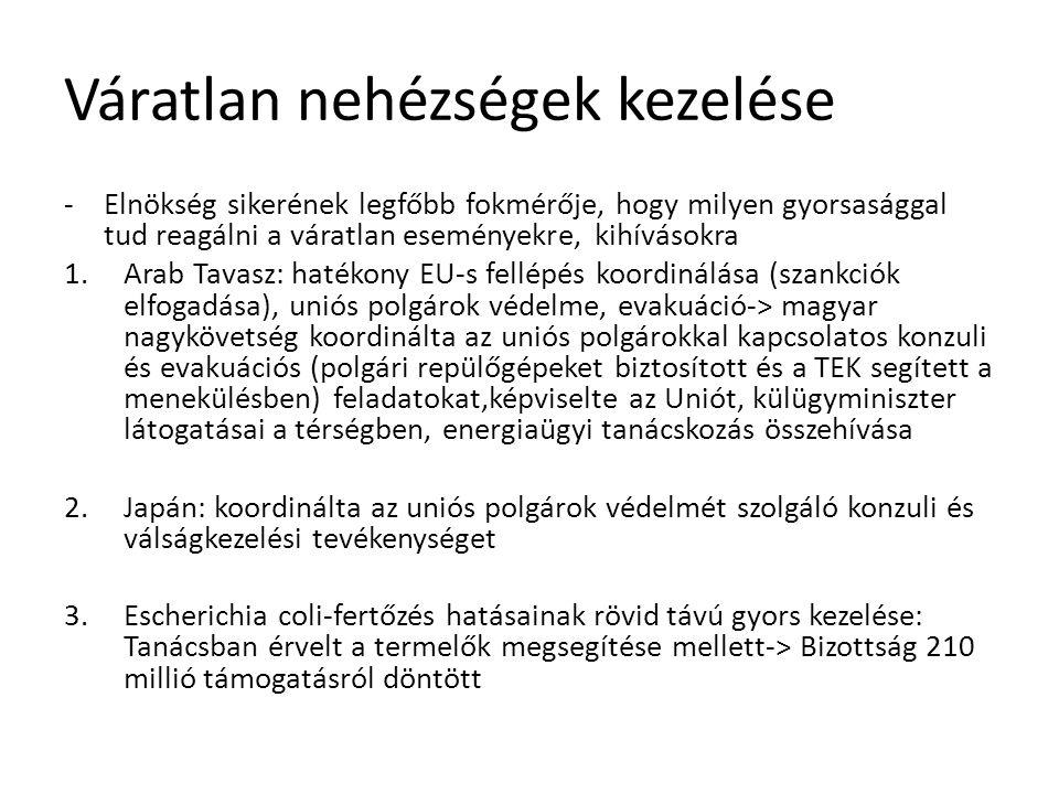 Váratlan nehézségek kezelése -Elnökség sikerének legfőbb fokmérője, hogy milyen gyorsasággal tud reagálni a váratlan eseményekre, kihívásokra 1.Arab Tavasz: hatékony EU-s fellépés koordinálása (szankciók elfogadása), uniós polgárok védelme, evakuáció-> magyar nagykövetség koordinálta az uniós polgárokkal kapcsolatos konzuli és evakuációs (polgári repülőgépeket biztosított és a TEK segített a menekülésben) feladatokat,képviselte az Uniót, külügyminiszter látogatásai a térségben, energiaügyi tanácskozás összehívása 2.Japán: koordinálta az uniós polgárok védelmét szolgáló konzuli és válságkezelési tevékenységet 3.Escherichia coli-fertőzés hatásainak rövid távú gyors kezelése: Tanácsban érvelt a termelők megsegítése mellett-> Bizottság 210 millió támogatásról döntött