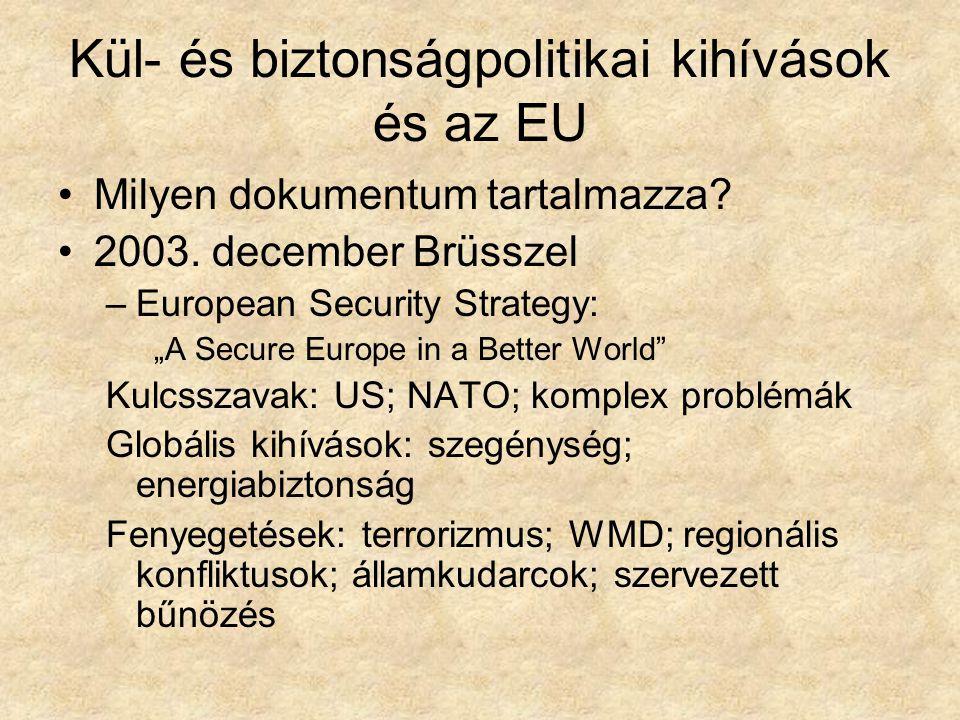 """Kül- és biztonságpolitikai kihívások és az EU Milyen dokumentum tartalmazza? 2003. december Brüsszel –European Security Strategy: """"A Secure Europe in"""
