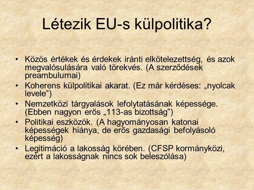 Létezik EU-s külpolitika? Közös értékek és érdekek iránti elkötelezettség, és azok megvalósulására való törekvés. (A szerződések preambulumai) Koheren