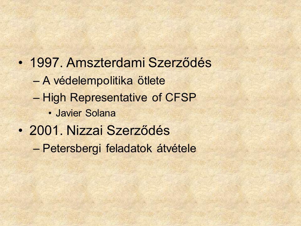 1997. Amszterdami Szerződés –A védelempolitika ötlete –High Representative of CFSP Javier Solana 2001. Nizzai Szerződés –Petersbergi feladatok átvétel