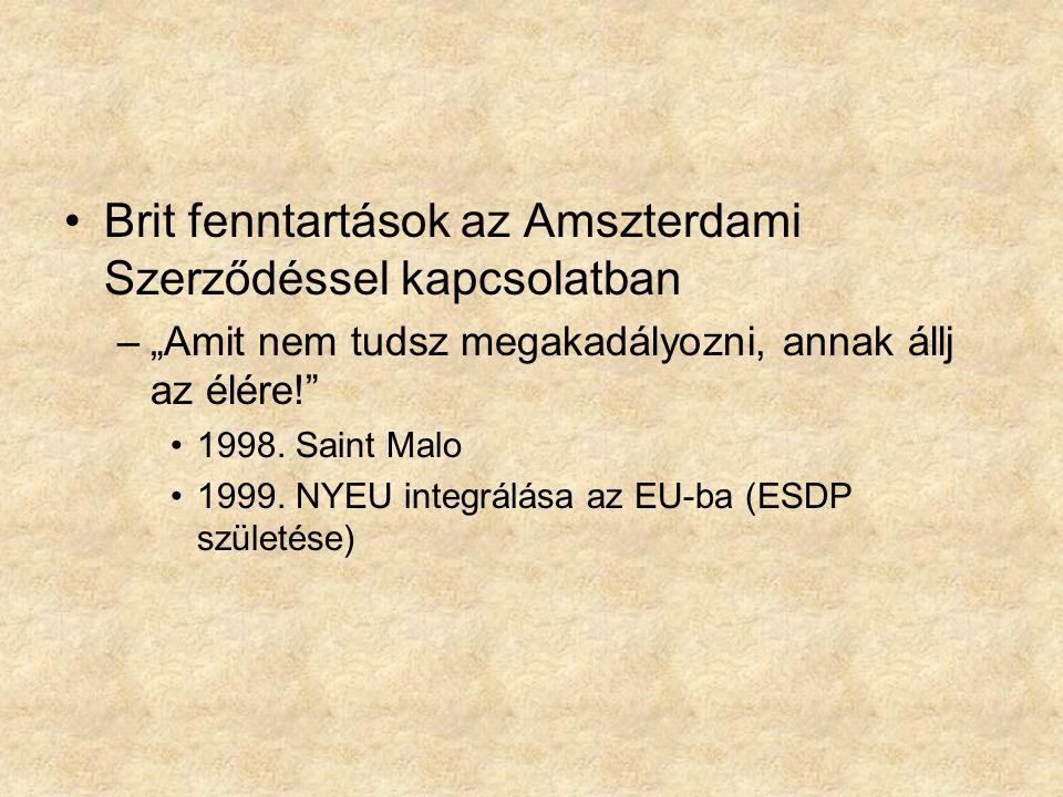 """Brit fenntartások az Amszterdami Szerződéssel kapcsolatban –""""Amit nem tudsz megakadályozni, annak állj az élére!"""" 1998. Saint Malo 1999. NYEU integrál"""