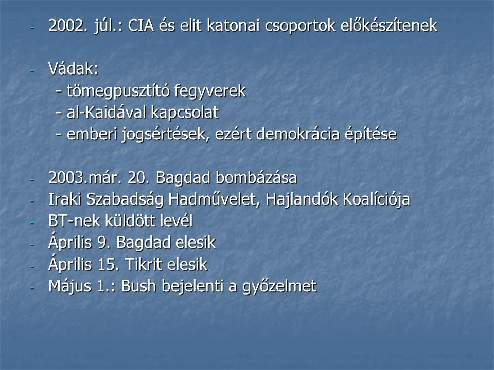 - 2002. júl.: CIA és elit katonai csoportok előkészítenek - Vádak: - tömegpusztító fegyverek - tömegpusztító fegyverek - al-Kaidával kapcsolat - al-Ka
