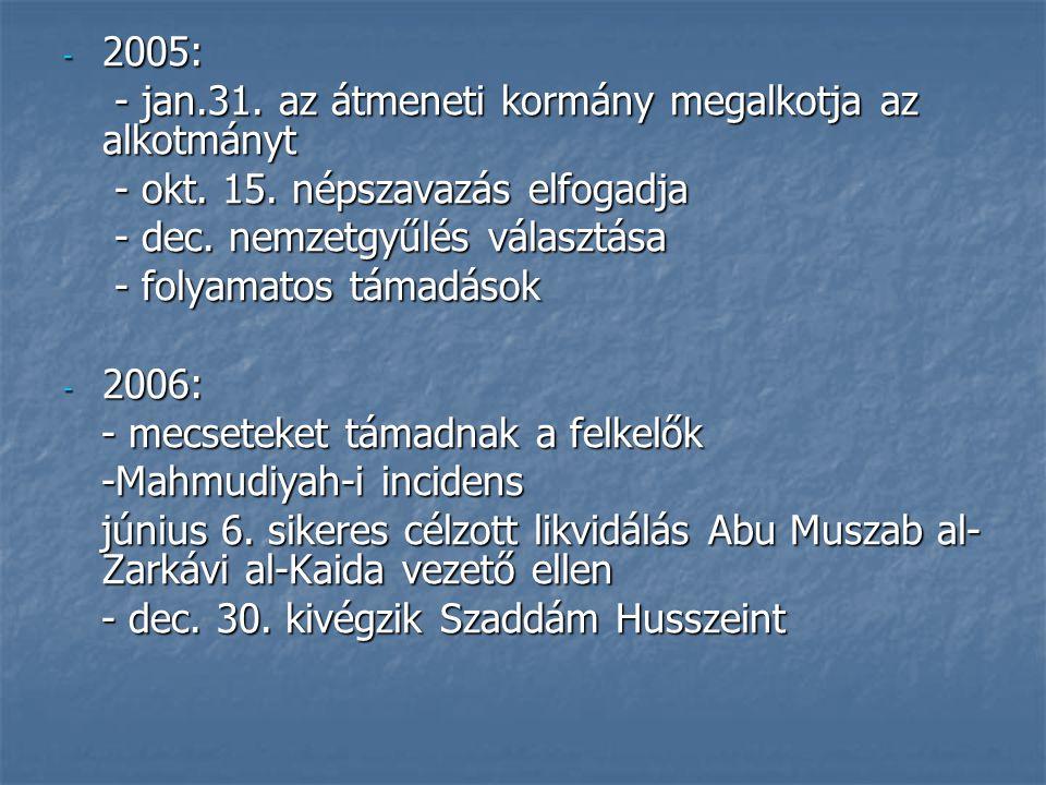 - 2005: - jan.31. az átmeneti kormány megalkotja az alkotmányt - jan.31. az átmeneti kormány megalkotja az alkotmányt - okt. 15. népszavazás elfogadja