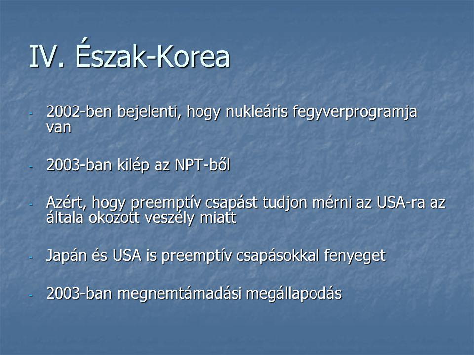 IV. Észak-Korea - 2002-ben bejelenti, hogy nukleáris fegyverprogramja van - 2003-ban kilép az NPT-ből - Azért, hogy preemptív csapást tudjon mérni az