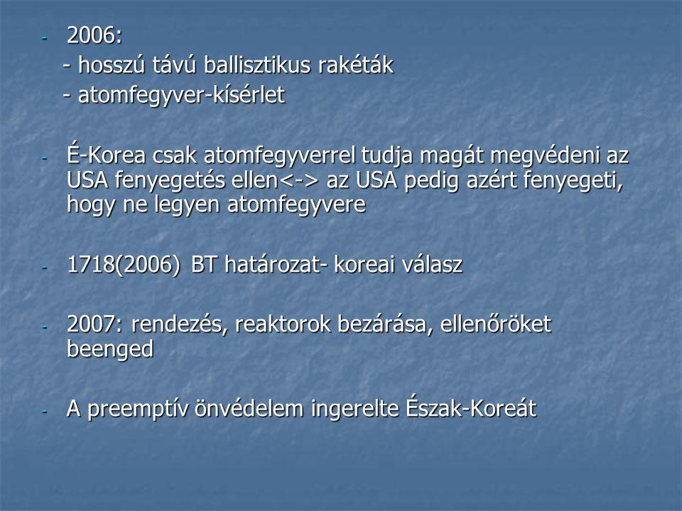 - 2006: - hosszú távú ballisztikus rakéták - hosszú távú ballisztikus rakéták - atomfegyver-kísérlet - atomfegyver-kísérlet - É-Korea csak atomfegyver