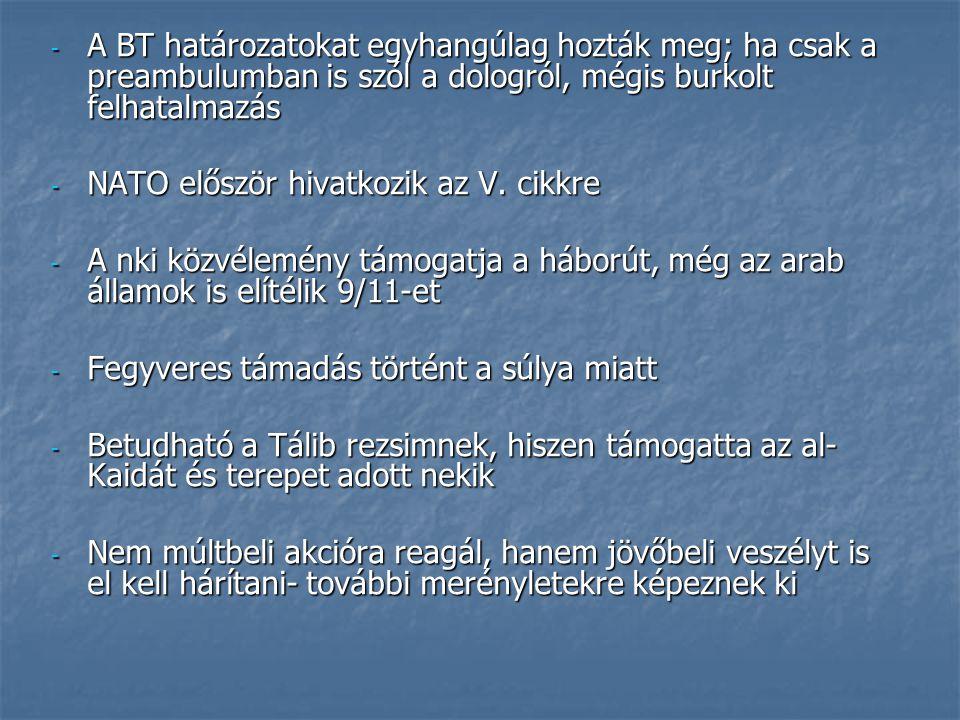 - A BT határozatokat egyhangúlag hozták meg; ha csak a preambulumban is szól a dologról, mégis burkolt felhatalmazás - NATO először hivatkozik az V. c