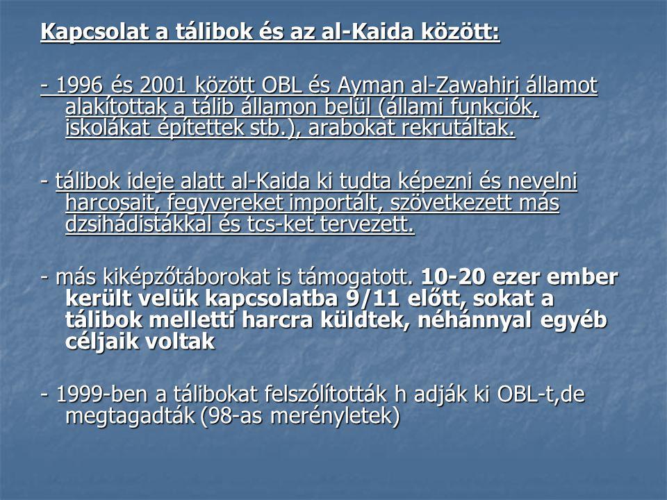 Kapcsolat a tálibok és az al-Kaida között: - 1996 és 2001 között OBL és Ayman al-Zawahiri államot alakítottak a tálib államon belül (állami funkciók,