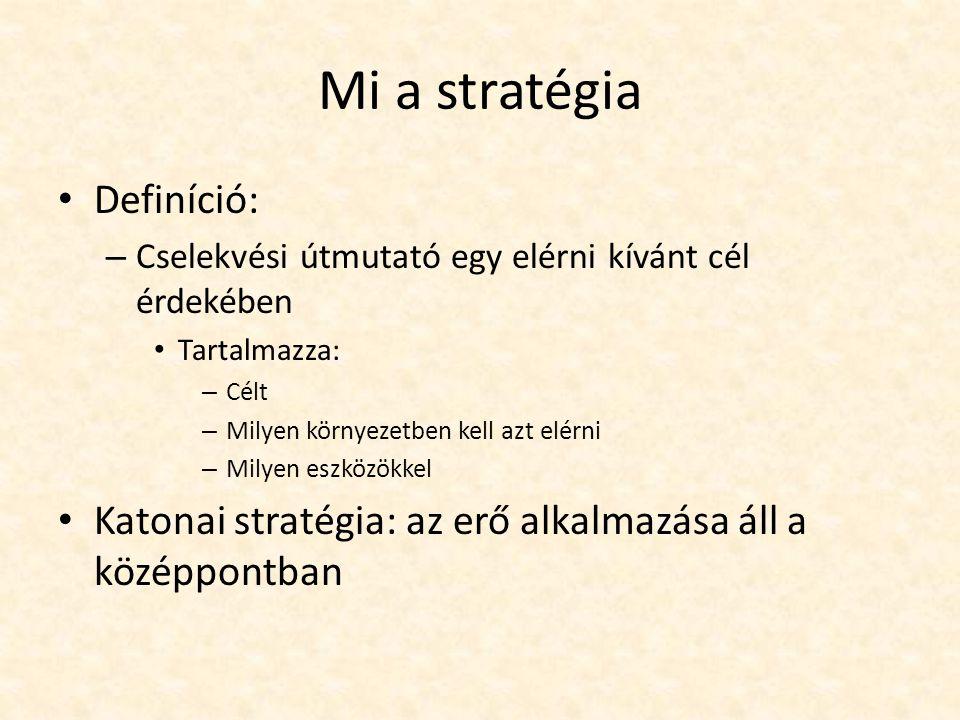 Mi a stratégia Definíció: – Cselekvési útmutató egy elérni kívánt cél érdekében Tartalmazza: – Célt – Milyen környezetben kell azt elérni – Milyen esz