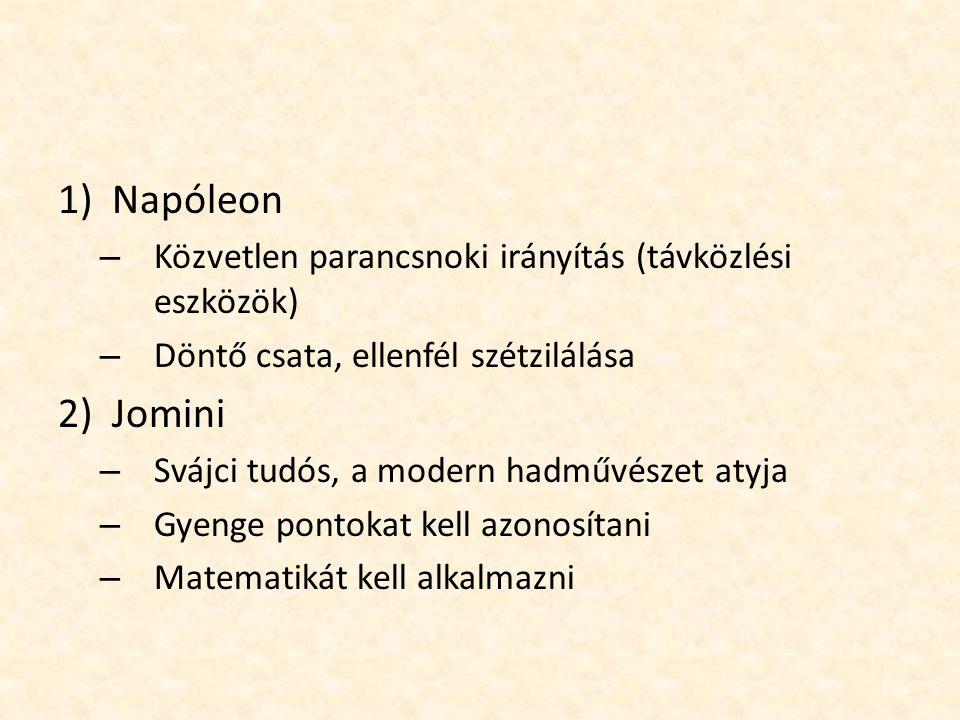 1)Napóleon – Közvetlen parancsnoki irányítás (távközlési eszközök) – Döntő csata, ellenfél szétzilálása 2)Jomini – Svájci tudós, a modern hadművészet