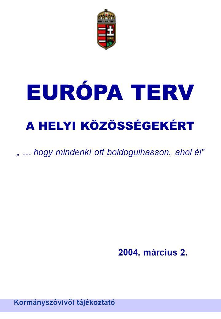 """Nemzeti Területfejlesztési Hivatal EURÓPA TERV A HELYI KÖZÖSSÉGEKÉRT """" … hogy mindenki ott boldogulhasson, ahol él 2004."""